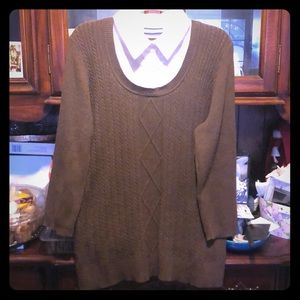 Used - Croft&Barrow 1X brown/white blouse